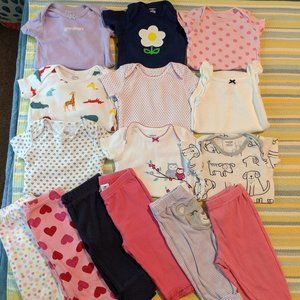 🌟 Baby Girl 6 Month Lot (9 bodysuits + 6 pants)